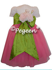 Grass Green and Pink ballerina style FLOWER GIRL DRESSES with layers and layers of tulle