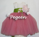 Pink and green silk with pink tulle flower girl dresses