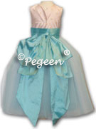 Pink and tiffany blue silk tulle flower girl dresses