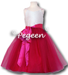BABY PINK AND RASPBERRY SILK TULLE FLOWER GIRL DRESSES