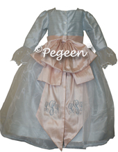 Steele Blue and Blush Pink Marie Antoinette Style dress from the Pegeen Regal Collection - style 694
