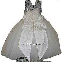 pewter gray and white tulle flower girl dresses