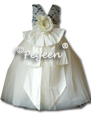 BLACK AND IVORY SILK WITH ALONCON LACE AND PEARLS AND BEADS IN IVORY SILK TULLE FLOWER GIRL DRESSES