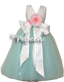 TIFFANY BLUE AND ALONCON LACE SILK FLOWER GIRL DRESSES