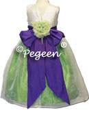 green and purple silk flower girl dresses