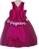 BRIGHT PINK RASPBERRY DESIGNER COUTURE FLOWER GIRL DRESSES CALLED BOING