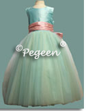 Tiffany blue and pink tulle flower girl dresses