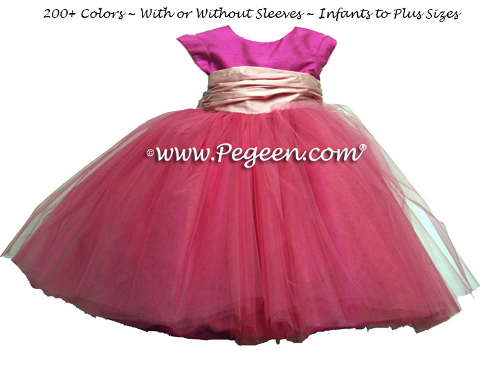 CERISE HOT PINK AND PEONY BABY PINK ballerina style FLOWER GIRL DRESSES with layers and layers of tulle
