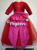 Shocking hot pink and red tulle flower girl dresses - customized in 200 silk colors