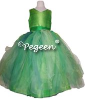 Tinkerbell Fairy Tulle Flower Girl Dress in Green by Pegeen Couture