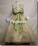 Vine green and bisque and tulle flower girl dresses