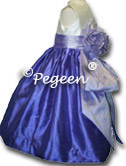 violet and lilac and ivory flower girl dresses - customized in 200 silk colors