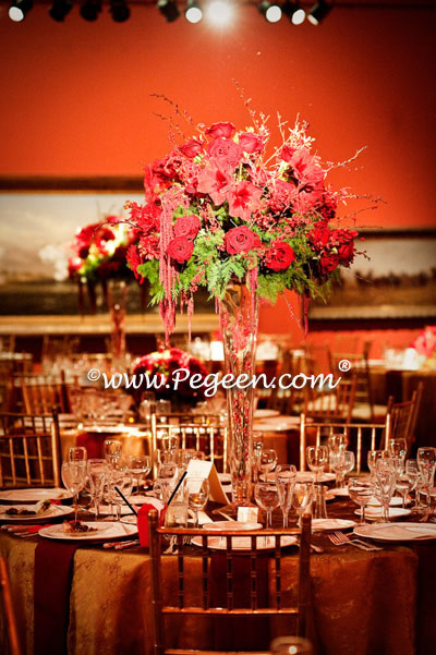 Red centerpieces at Pegeen's Wedding of the Year