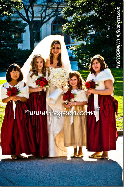 Gold and Claret Red jr. bridesmaids and flower girl dresses
