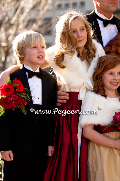 Burgundy, Spun Gold and Bisque flower girl dresses with flowers and gold tulle