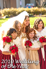 Gold and Claret Red Flower GIrl Dress of the Year 2010
