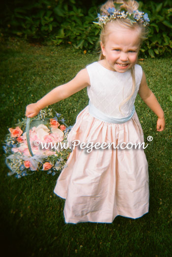 Peach and Blue Flower Girl Dresses