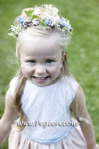 Peach and Blue flower girl dresses with pin tuck silk bodice and back flowers