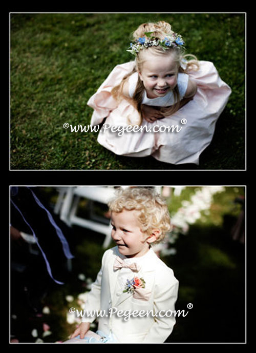 Peach and blue flower girl dresses of the year by Pegeen