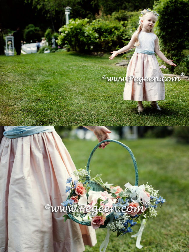 flower girl dresses of the year runner-up in peach and blue silk