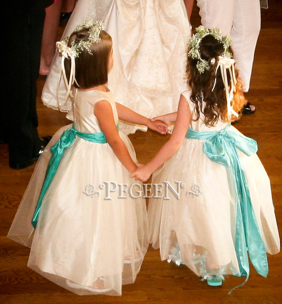 Pegeen aqua, tiffany blue and bisque creme or ivory tulle Wedding of the Year