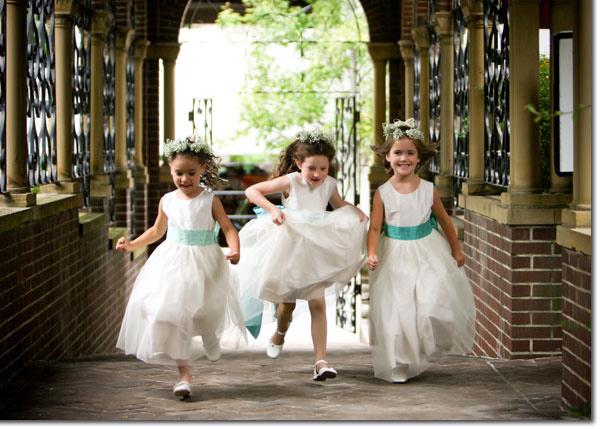 Aqua and ivory sillk flower girl dresses