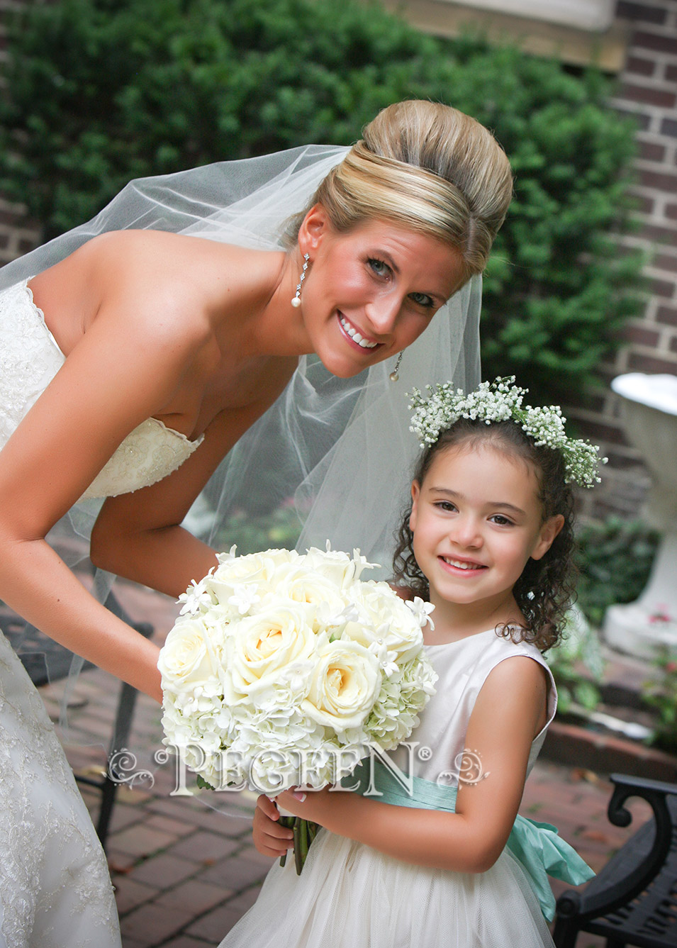 Flower girl dress style 356 in Ivory Bisque and Aqua | Pegeen