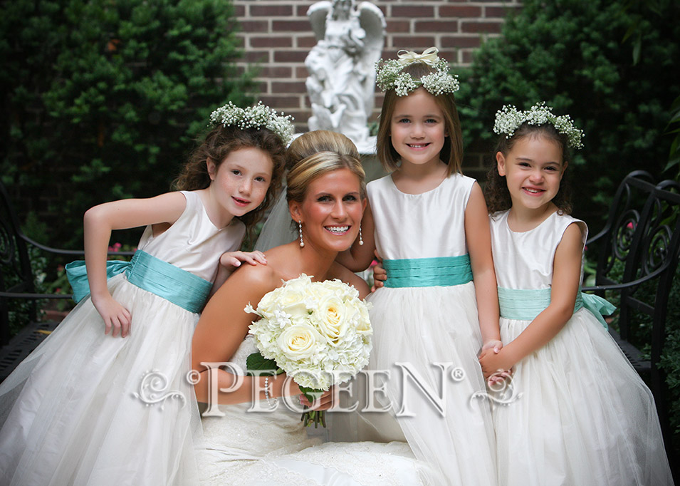 Flower Girl Dresses in Bisque (creme) and Sea Shore (aqua)