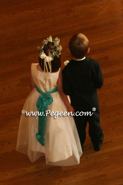 New Ivory and Bermuda blue silk and tulle flower girl dress from Pegeen Classics
