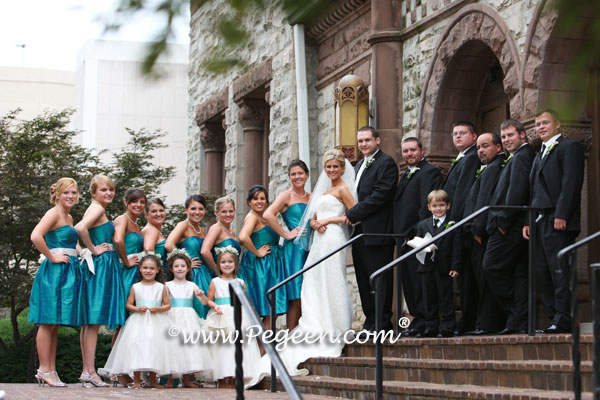 aqua, tiffany blue and bisque creme or ivory tulle wedding party