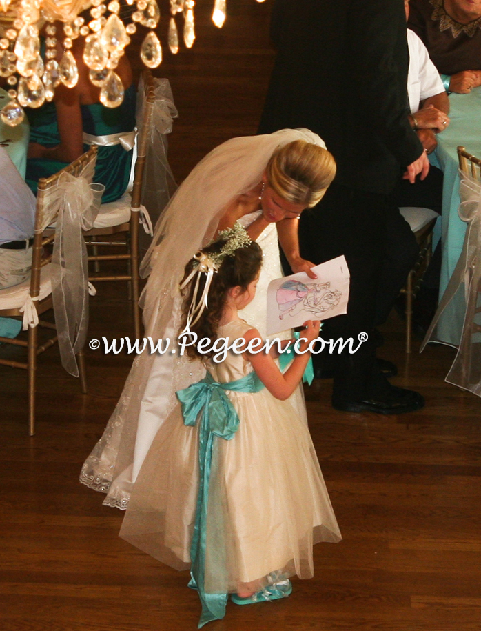 Shades of tiffany blue and new ivory silk custom flower girl dresses