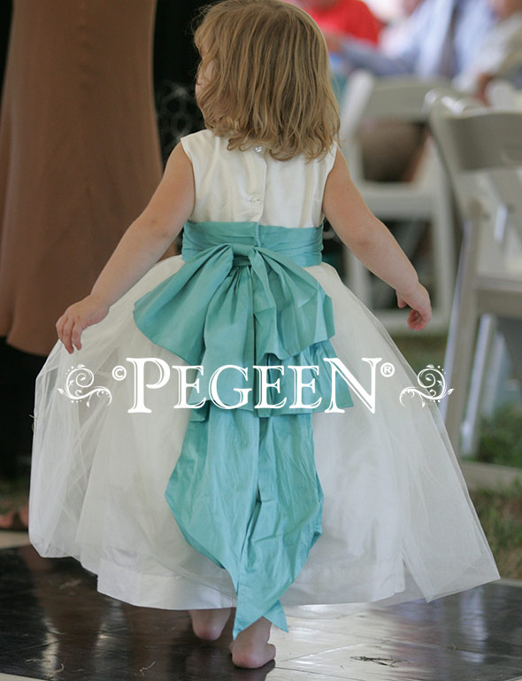 Tiffany Blue and New Ivory Silk and tulle Flower Girl Dress of the Year by Pegeen.com