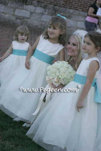 tiffany blue and ivory flower girl dresses