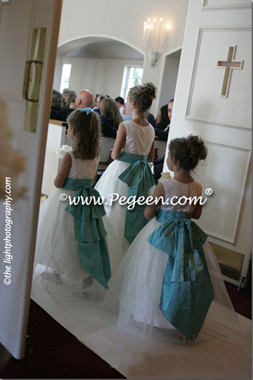 tiffany blue and ivory cinderella flower girl dresses