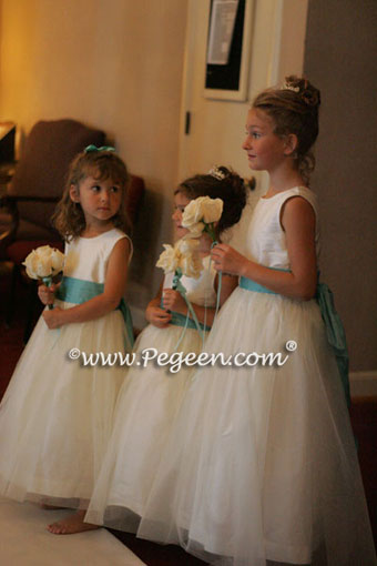 3 flower girl dresses in tiffany blue