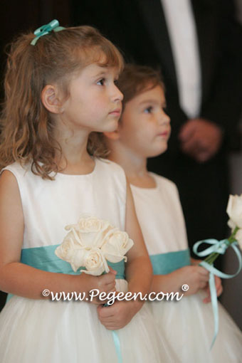 Tiffany blue and ivory flower girl dresses - Pegeen Classic Style 394