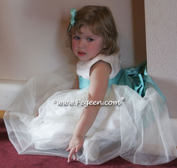 Tired flower girl dress in Tiffany Blue