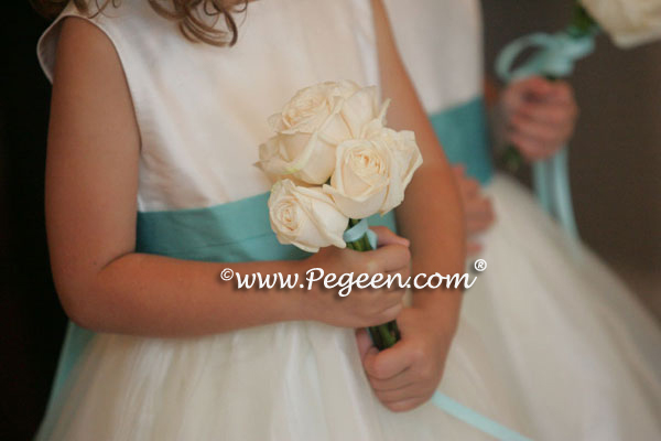 Tiffany Blue flower girl dresses and Tiffany Blue theme wedding and flowers