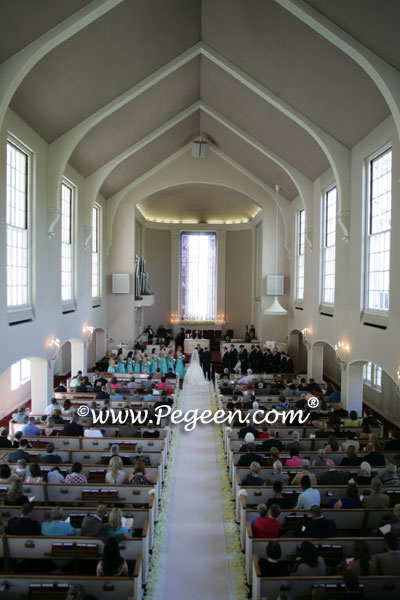 Tiffany Blue and ivory flower girl dress in the church