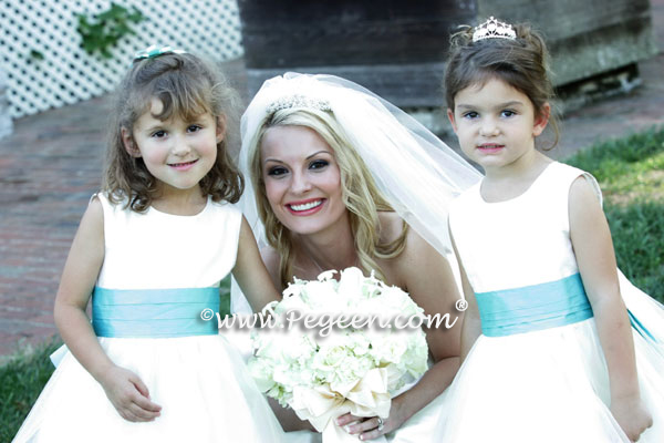 Pegeen.com Wedding of the Year - Tiffany Blue flower girl dresses