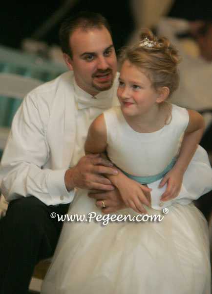 tiffany blue dress with her father