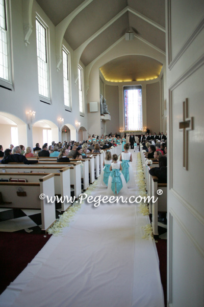 tiffany blue and ivory flower girl dress
