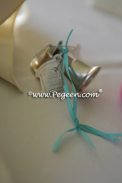 Tiffany Blue and ivory wedding bells
