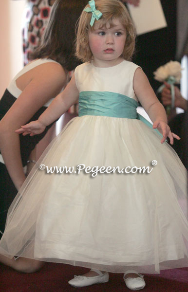 Flower Girl Dresses of the Year in Tiffany Blue and White | Pegeen