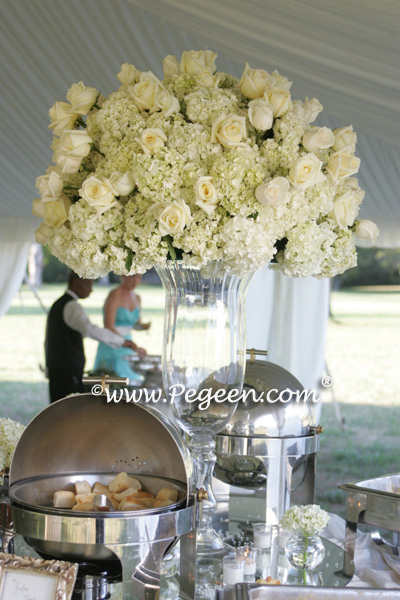 Tiffany Blue and ivory flowers