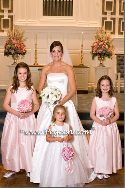 Peony pink junior and flower girl dresses