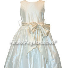 New Ivory and Bisque Silk Flower Girl Dresses Style 300 | Pegeen