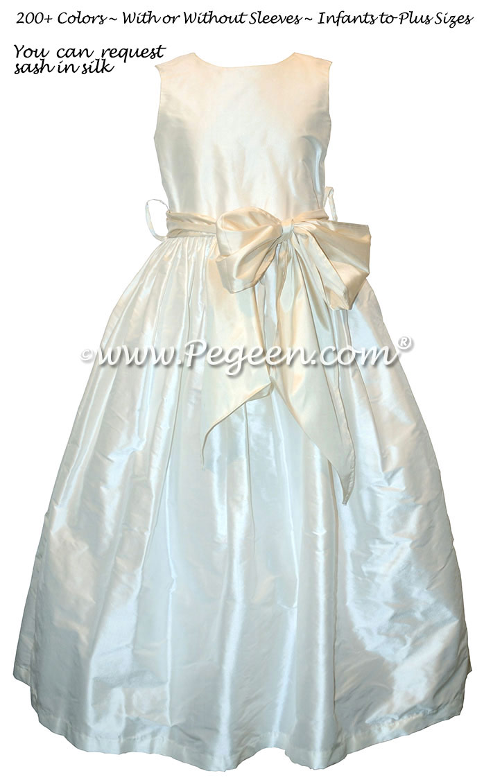 Style 300 Flower Girl Dress in New Ivory and Bisque Silk Sash