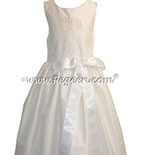 Antique White Silk Flower Girl Dresses style 318 With Pleated Skirt by Pegeen