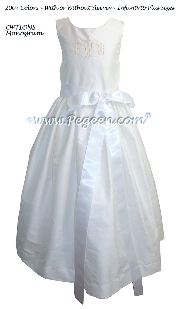 Style 300 Flower Girl Dress in Antique White with Monogramming and a White Ribbon Silk Sash